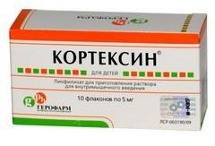 Кортексин по цене от 819,60 рублей, купить в аптеках Тольятти, лиоф. д/р-ра для в/м введ. 5 мг №10 флаконы Полипептиды коры головного мозга скота